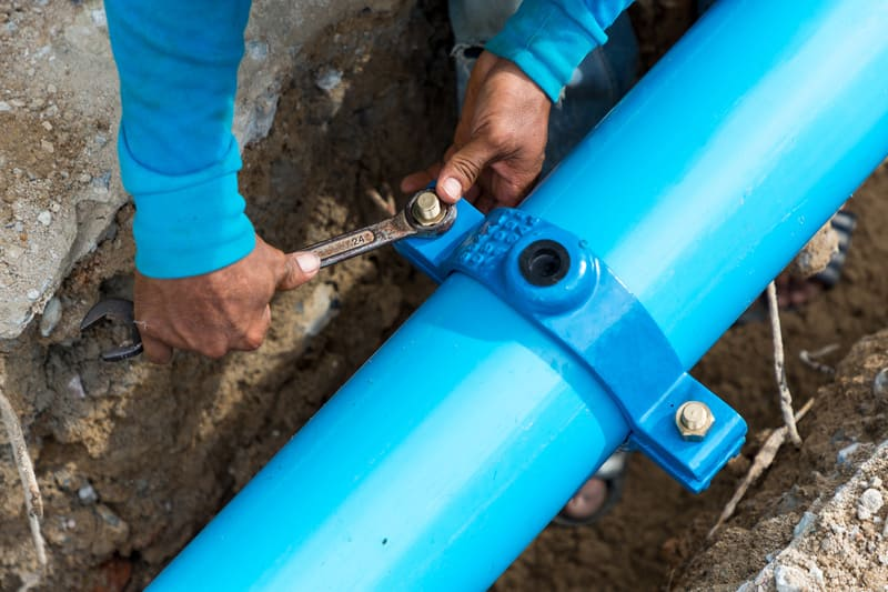 blue sewer pipeline